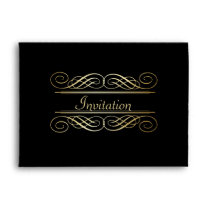 Elegant Gold Foil Look Scrollwork Script on Black Envelope