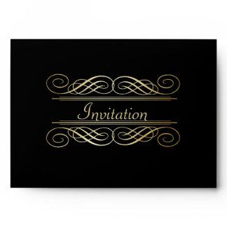 Elegant Gold Foil Look Scrollwork Script on Black Envelope