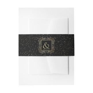 Elegant Gold Foil Look Scrollwork Script on Black Invitation Belly Band