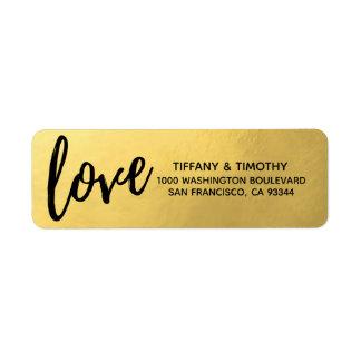 Elegant Gold Foil LOVE Wedding Return Address Label