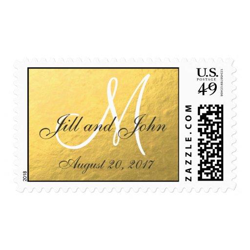 Elegant Gold Foil Monogram Save the Date Postage