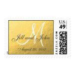 Elegant Gold Foil Monogram Save the Date Postage Stamp