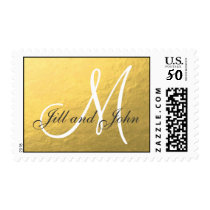 Elegant Gold Foil Monogram Wedding Postage