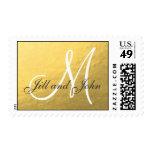 Elegant Gold Foil Monogram Wedding Stamp