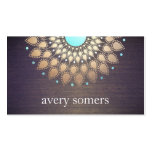 Elegant Gold Foil Ornate Leaf Mandala Wood Look Business Card Templates