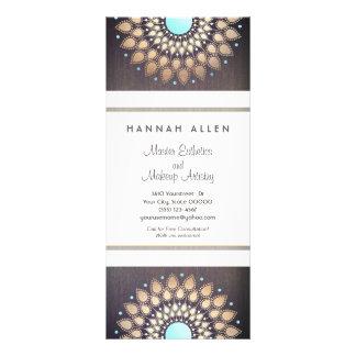 Elegant Gold  Foil Ornate Leaf Mandala Wood LOOK Rack Card