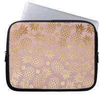elegant gold foil pineapple polka dots pattern computer sleeve