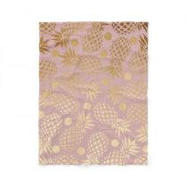 elegant gold foil pineapple polka dots pattern fleece blanket