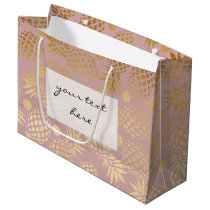 elegant gold foil pineapple polka dots pattern large gift bag