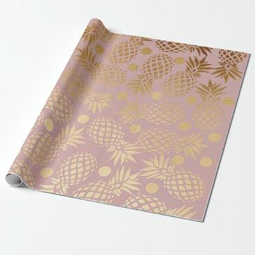 elipsa elegant gold foil pineapple polka dots pattern wrapping paper