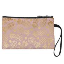 elegant gold foil pineapple polka dots pattern wristlet wallet
