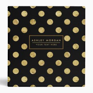 Elegant Gold Foil Polka Dot Pattern - Gold & Black Binder