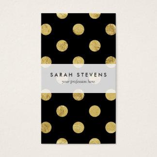 Elegant Gold Foil Polka Dot Pattern - Gold & Black Business Card