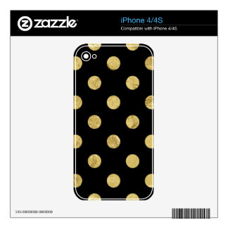 Elegant Gold Foil Polka Dot Pattern - Gold & Black iPhone 4S Skins