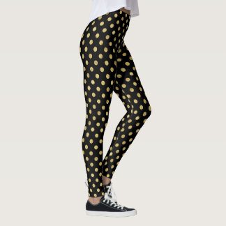 Elegant Gold Foil Polka Dot Pattern - Gold & Black Leggings