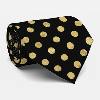 Elegant Gold Foil Polka Dot Pattern - Gold & Black Neck Tie