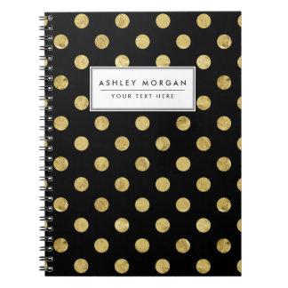 Elegant Gold Foil Polka Dot Pattern - Gold & Black Notebook