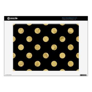 Elegant Gold Foil Polka Dot Pattern - Gold & Black Skin For Acer Chromebook