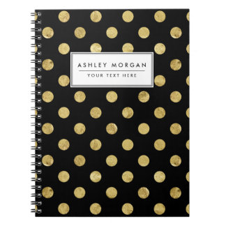 Elegant Gold Foil Polka Dot Pattern - Gold & Black Spiral Notebook