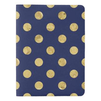 Elegant Gold Foil Polka Dot Pattern - Gold & Blue Extra Large Moleskine Notebook