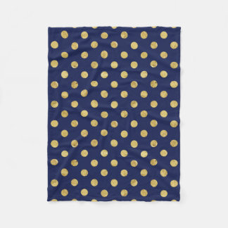 Elegant Gold Foil Polka Dot Pattern - Gold & Blue Fleece Blanket