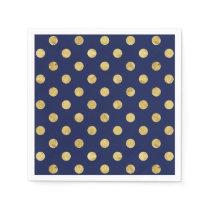 Elegant Gold Foil Polka Dot Pattern - Gold & Blue Napkin