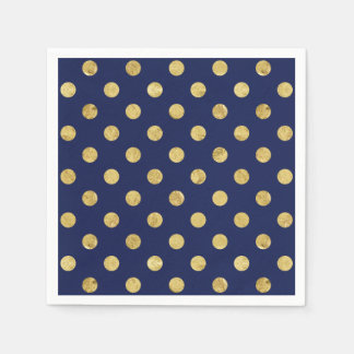Elegant Gold Foil Polka Dot Pattern - Gold & Blue Napkin