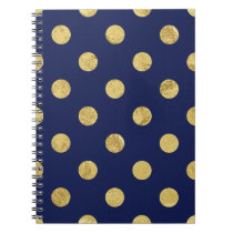 Elegant Gold Foil Polka Dot Pattern - Gold & Blue Notebook
