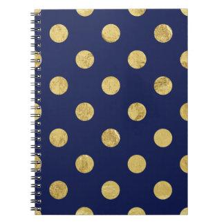 Elegant Gold Foil Polka Dot Pattern - Gold & Blue Notebook