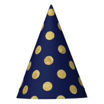 Elegant Gold Foil Polka Dot Pattern - Gold & Blue Party Hat