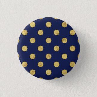 Elegant Gold Foil Polka Dot Pattern - Gold & Blue Pinback Button