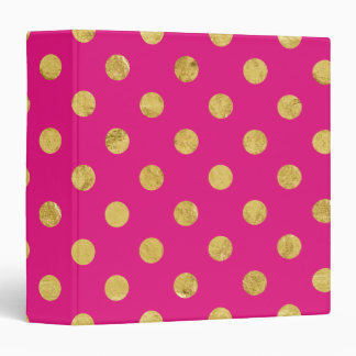 Elegant Gold Foil Polka Dot Pattern - Gold & Pink 3 Ring Binder