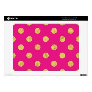 Elegant Gold Foil Polka Dot Pattern - Gold & Pink Acer Chromebook Decal