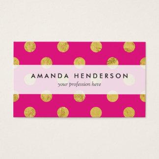 Elegant Gold Foil Polka Dot Pattern - Gold & Pink Business Card