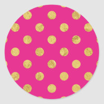 Elegant Gold Foil Polka Dot Pattern - Gold & Pink Classic Round Sticker