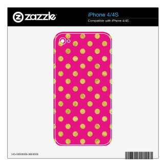 Elegant Gold Foil Polka Dot Pattern - Gold & Pink iPhone 4 Skin