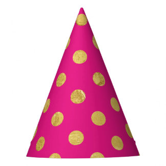 Elegant Gold Foil Polka Dot Pattern - Gold & Pink Party Hat