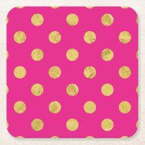 Elegant Gold Foil Polka Dot Pattern - Gold & Pink Square Paper Coaster