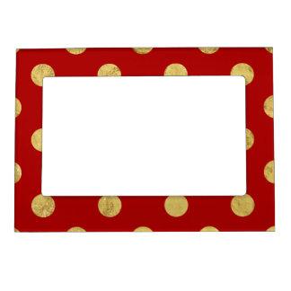 Elegant Gold Foil Polka Dot Pattern - Gold & Red Magnetic Frame
