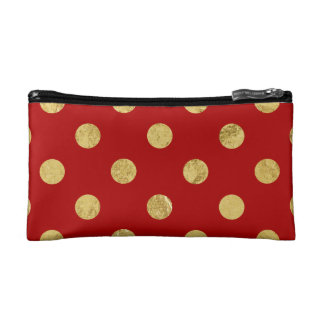 Elegant Gold Foil Polka Dot Pattern - Gold & Red Makeup Bag