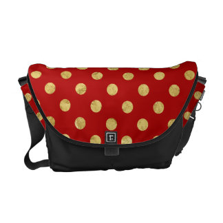 Elegant Gold Foil Polka Dot Pattern - Gold & Red Messenger Bag