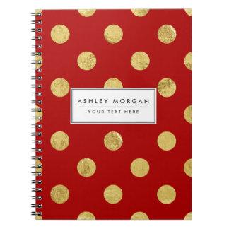 Elegant Gold Foil Polka Dot Pattern - Gold & Red Notebook