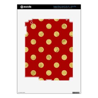 Elegant Gold Foil Polka Dot Pattern - Gold & Red Skins For iPad 3