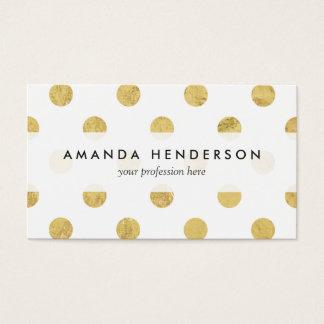 Elegant Gold Foil Polka Dot Pattern - Gold & White Business Card