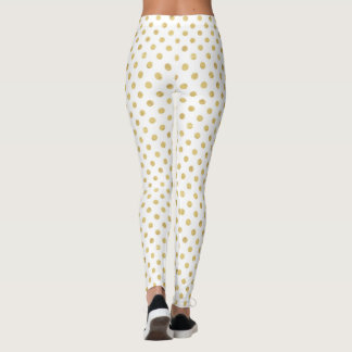Elegant Gold Foil Polka Dot Pattern - Gold & White Leggings