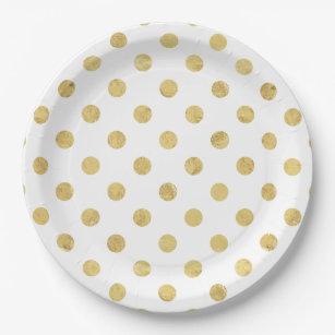 Elegant Gold Foil Polka Dot Pattern - Gold \u0026 White Paper Plate  sc 1 st  Zazzle & Gold Polka Dots Pattern Plates | Zazzle