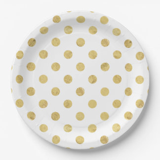 Elegant Gold Foil Polka Dot Pattern - Gold & White Paper Plate