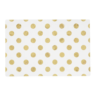 Elegant Gold Foil Polka Dot Pattern - Gold & White Placemat