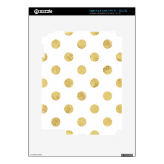 Elegant Gold Foil Polka Dot Pattern - Gold & White Skin For iPad 3