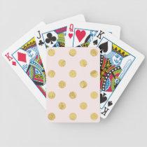 Elegant Gold Foil Polka Dot Pattern - Pink & Gold Bicycle Playing Cards